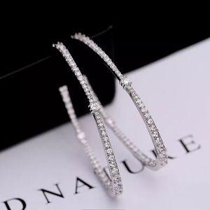 NEW White Gold Plated Sparkling Hoop Earrings